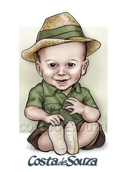caricatura aniversario 1 ano safari