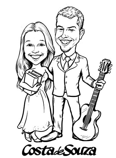 caricatura casamento noivos preto branco