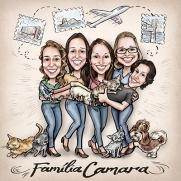 caricatura família viagem gatos