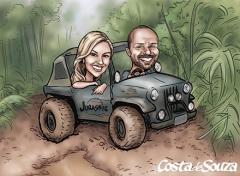caricatura namorados trilha jeep