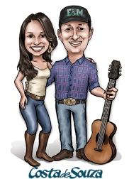 caricatura casamento casal violão