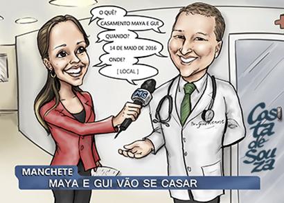 convite casamento jornalista caricatura