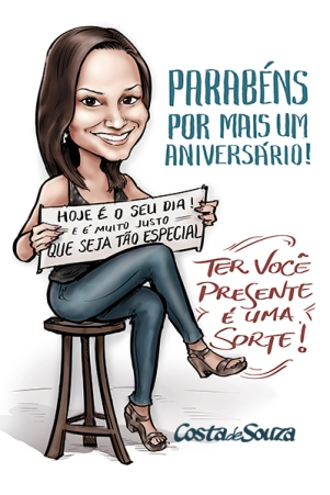 caricatura aniversário presente quadro