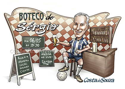 caricatura boteco festa aniversario bar