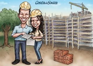 caricatura namorados presente engenharia civil
