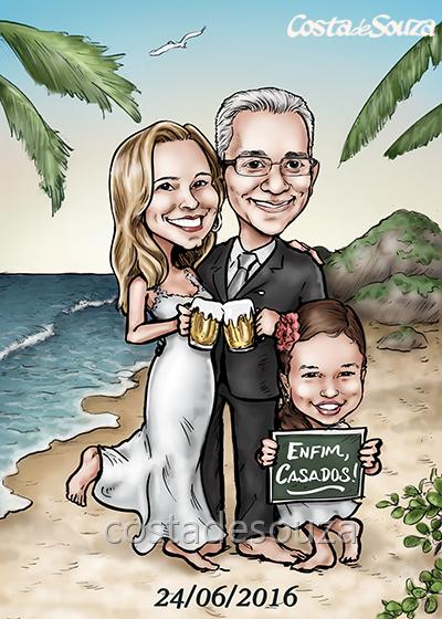 caricatura noivos casamento praia