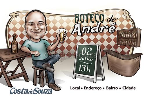 caricatura aniversário festa boteco bar