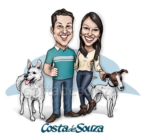caricatura casal namorados cachorro