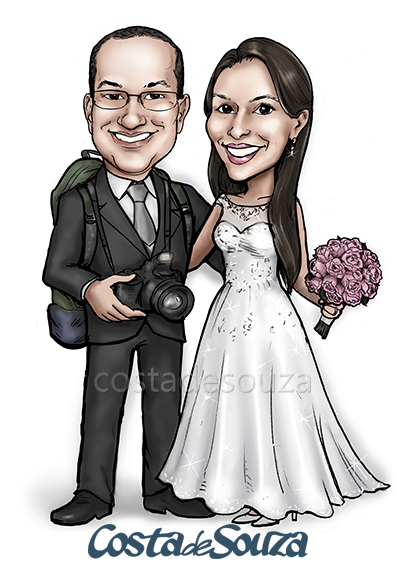 caricatura casamento noivos fotografia