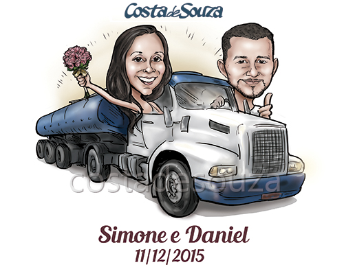 caricatura noivos casamento caminhão