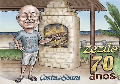 Caricatura aniversario 70 anos churrasco