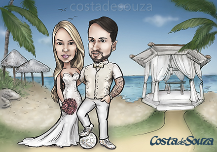 caricatura casamento praia caribe