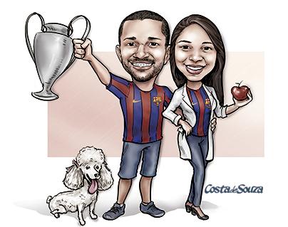 caricatura namorados quadro cachorro