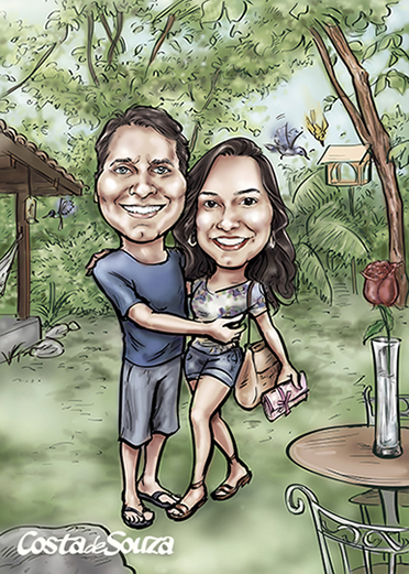 caricatura-casal-campo-quadro