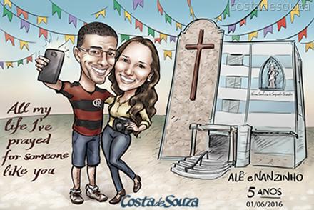 caricatura-namorados-igreja-presente