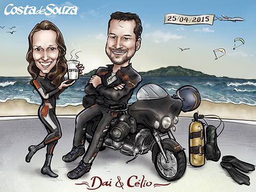 caricatura-namorados-praia-moto