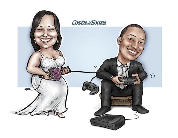 caricatura-casamento-noivos-videogame