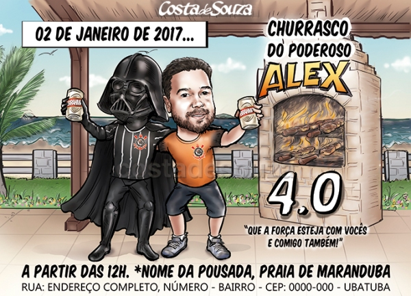 caricatura-aniversario-churrasco-darth-vader-star-wars