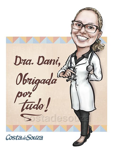 caricatura-presente-medica-encomenda