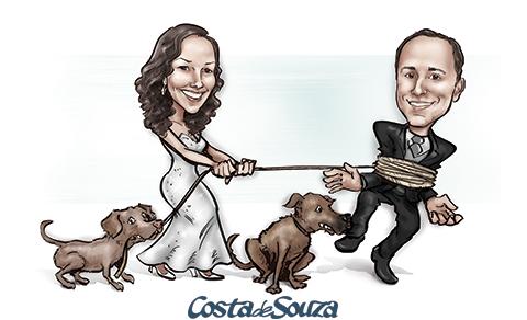 caricatura-noivos-casamento-cachorro
