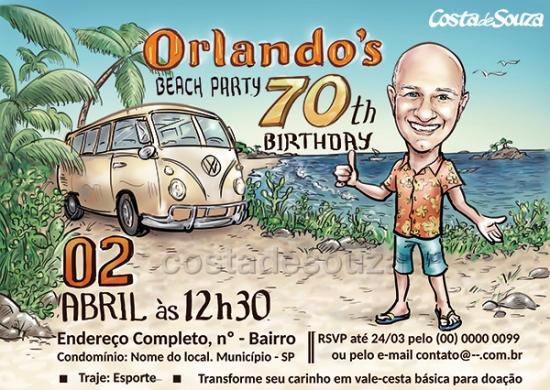 Caricatura aniversário praia