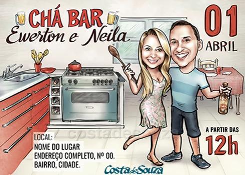 caricatura chá bar casamento convite