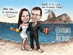caricatura noivos casamento rio RJ