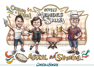 Caricatura aniversario Boteco bar