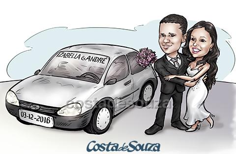 caricatura noivos casamento carro