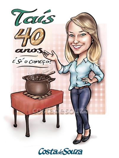 caricatura aniversário feijoada 40
