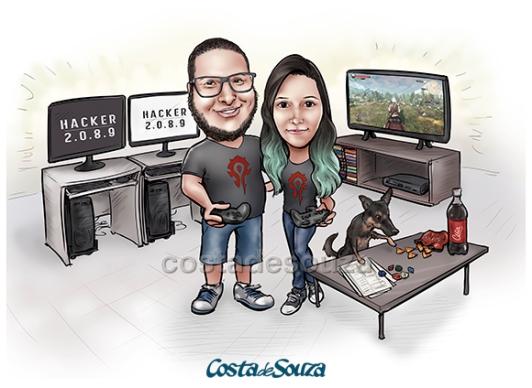 caricatura namorados programador jogo game pc