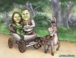 caricatura noivos casamento convite