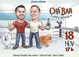Convite caricatura chá bar noivos