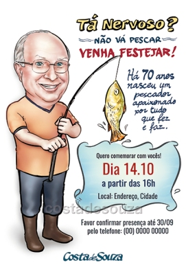 caricatura aniversário 70 anos convite