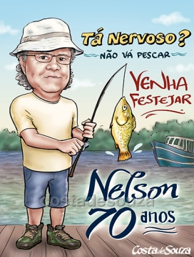 caricatura aniversário 70 anos