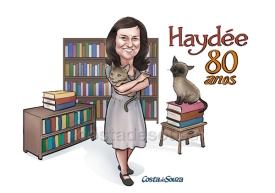 caricatura aniversário 80 anos gato