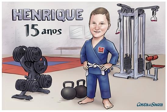 caricatura aniversário academia jiu jitsu