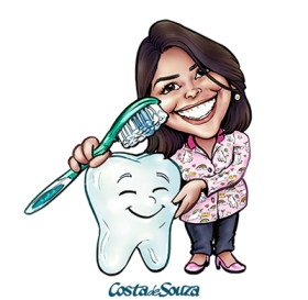 caricatura dentista marca logo avatar