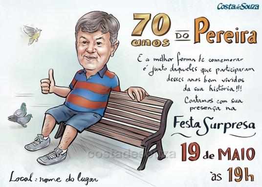 caricatura aniversário 70 anos praça