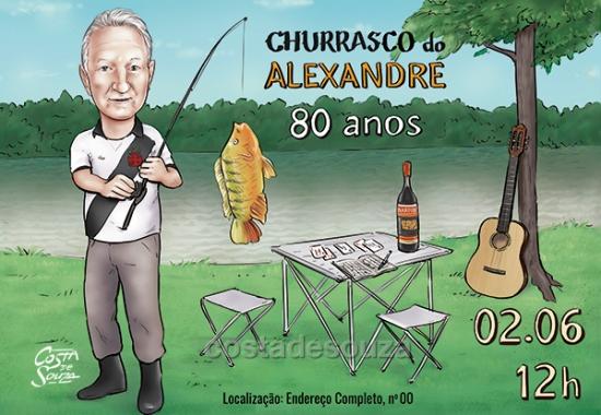 caricatura aniversário 80 anos churrasco pescador