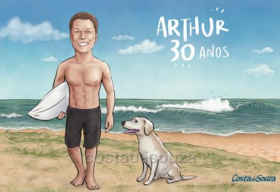 caricatura aniversário 30 anos praia