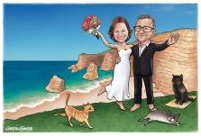caricatura casamento noivos praia