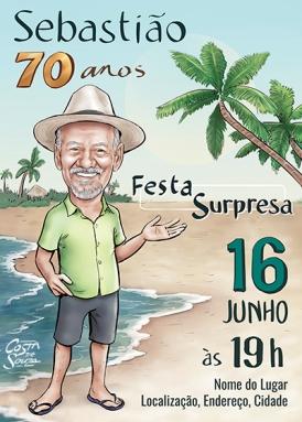 caricatura convite aniversário 70 anos