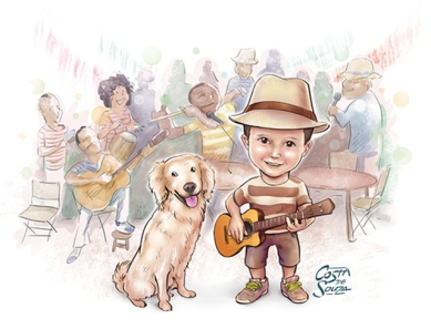 caricatura aniversário infantil samba