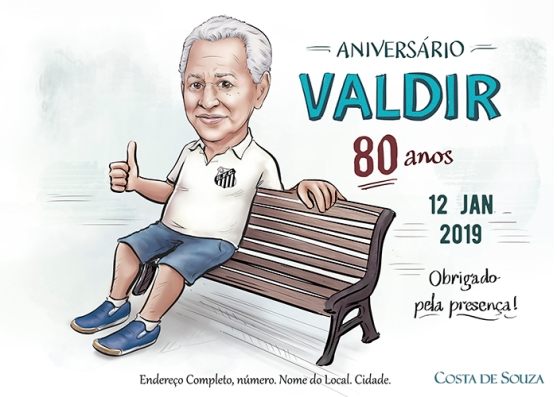 caricatura aniversário 80 anos convite