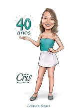 caricatura aniversário 40 anos