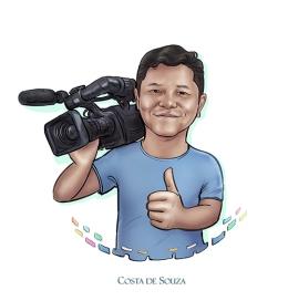 caricatura logomarca cinegrafista logotipo