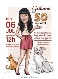 caricatura convite aniversário 50