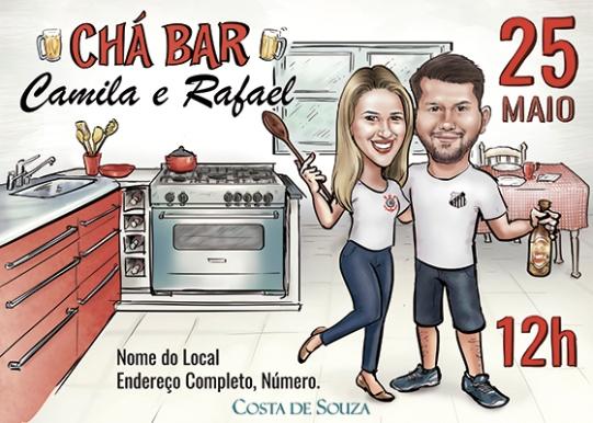 caricatura convite Chá Bar