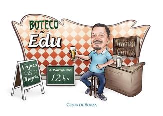 caricatura aniversário boteco bar